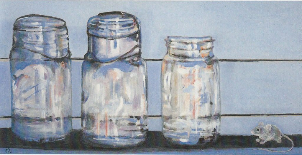 three mason jars and a mouse