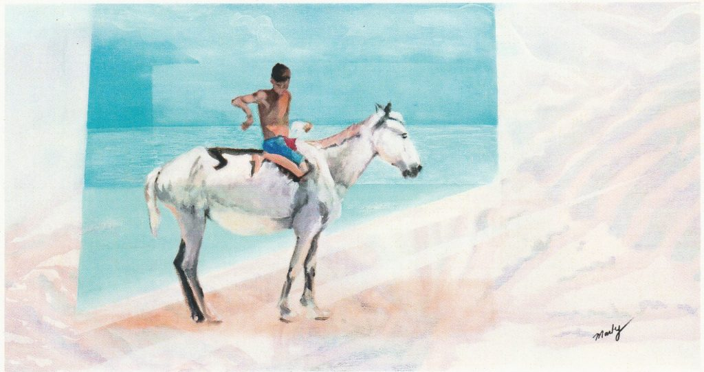 painting of a boy in shorts on horse