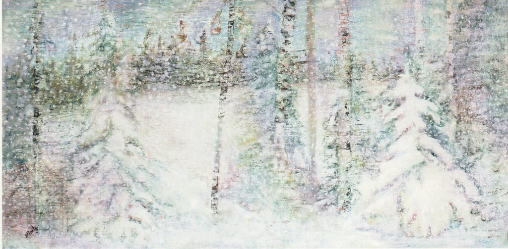 a forest in a snowstorm